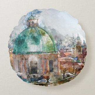 Dome in Prague Czech Republic Round Pillow