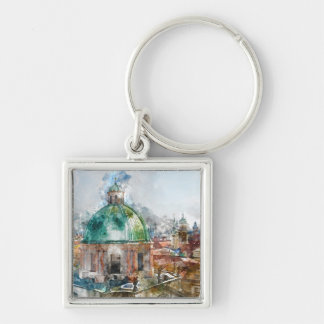 Dome in Prague Czech Republic Silver-Colored Square Keychain