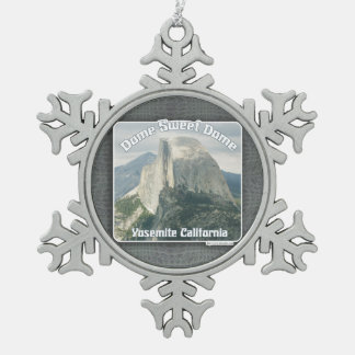 Dome Sweet Half Dome Snowflake Pewter Christmas Ornament