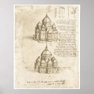 Domed Churches, Leonardo da Vinci, 1488 Poster