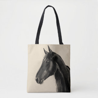 Domestic Equine Animal Horse Portrait Sketch Tote Bag