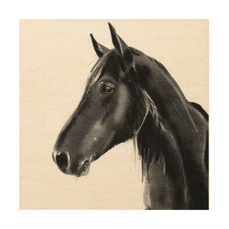 Domestic Equine Animal Horse Portrait Sketch Wood Print