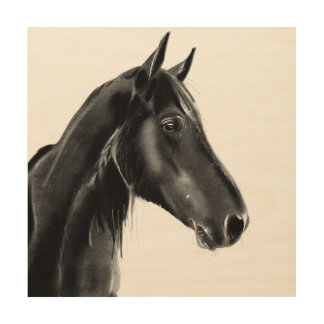 Domestic Equine Animal Horse Portrait Sketch Wood Wall Art