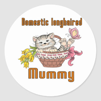 Domestic longhaired Cat Mom Round Sticker