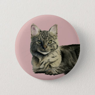 Domestic Medium Hair Cat Watercolor Painting 2 Inch Round Button