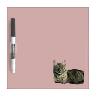 Domestic Medium Hair Cat Watercolor Painting Dry Erase Board