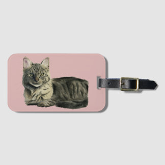 Domestic Medium Hair Cat Watercolor Painting Luggage Tag