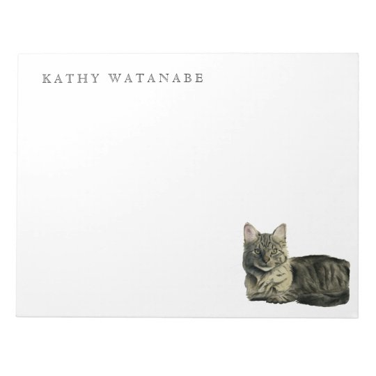 Domestic Medium Hair Cat Watercolor Painting Notepad