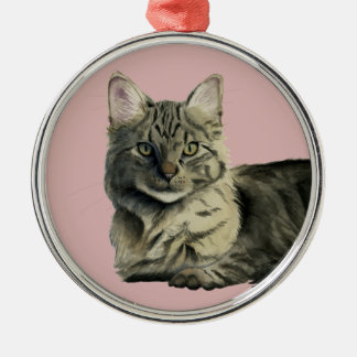 Domestic Medium Hair Cat Watercolor Painting Silver-Colored Round Ornament