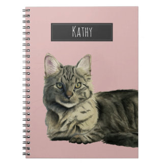 Domestic Medium Hair Cat Watercolor Painting Spiral Notebook