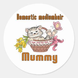 Domestic mediumhair Cat Mom Round Sticker
