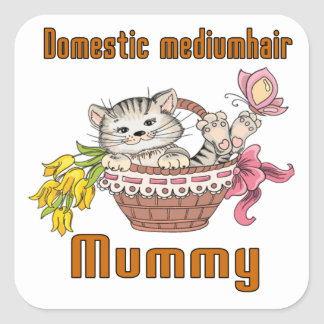Domestic mediumhair Cat Mom Square Sticker
