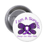 Domestic Violence Butterfly I Am A Survivor 2 Inch Round Button