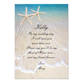 Domestique de mariage de plage d'étoiles de mer de carton d'invitation  12,7 cm x 17,78 cm
