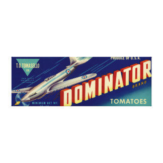Dominator Brand Tomatoes Crate Label Canvas Print