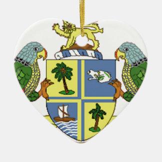 Dominica Coat of Arms Ceramic Heart Ornament