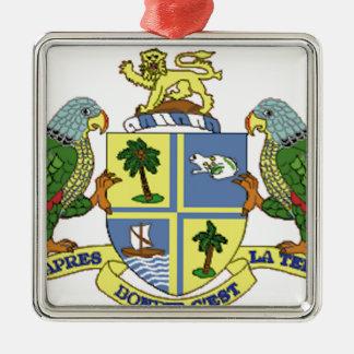 Dominica Coat of Arms Silver-Colored Square Ornament