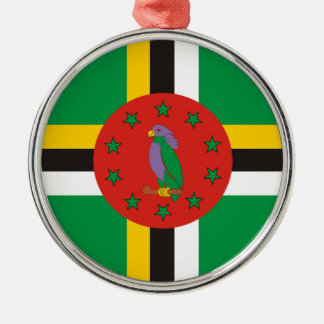 dominica country flag nation symbol Silver-Colored round ornament