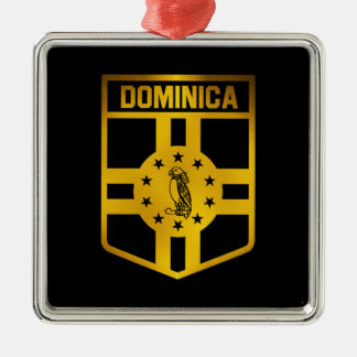 Dominica Emblem Silver-Colored Square Ornament