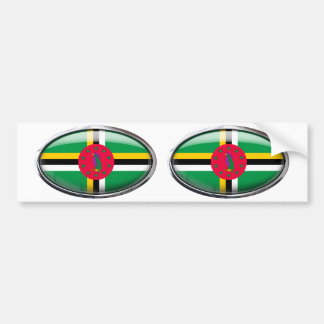 Dominica Flag Glass Oval Bumper Sticker