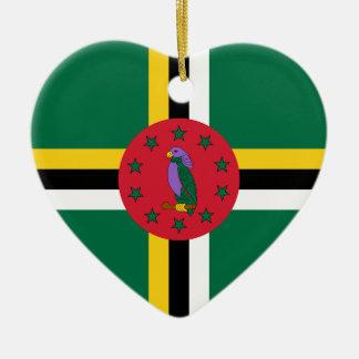 Dominica Flag Heart Ornament