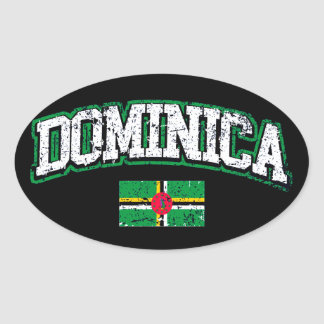Dominica Flag Oval Sticker