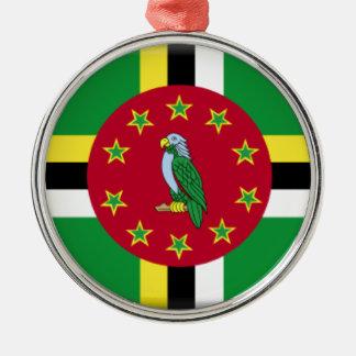 Dominica Flag Silver-Colored Round Ornament