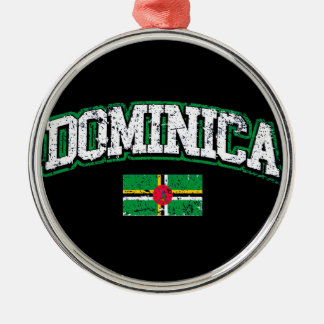 Dominica Flag Silver-Colored Round Ornament