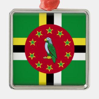 Dominica Flag Silver-Colored Square Ornament