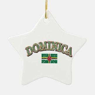 Dominica football design ceramic star ornament