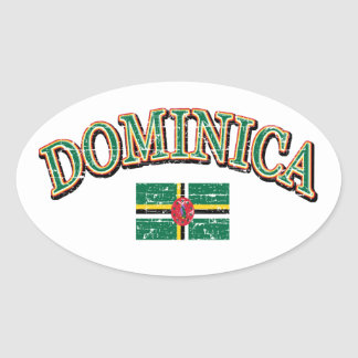 Dominica football design oval sticker
