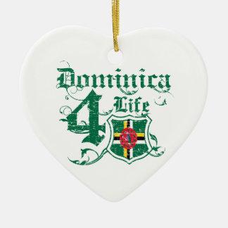 Dominica for life ceramic heart ornament