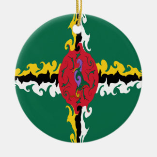 Dominica Gnarly Flag Round Ceramic Ornament