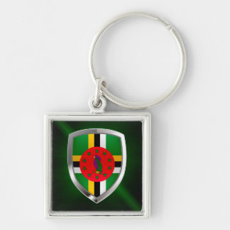 Dominica Mettalic Emblem Silver-Colored Square Keychain