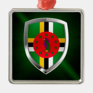 Dominica Mettalic Emblem Silver-Colored Square Ornament