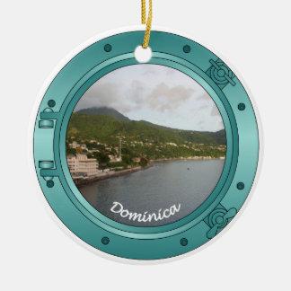 Dominica Porthole Round Ceramic Ornament