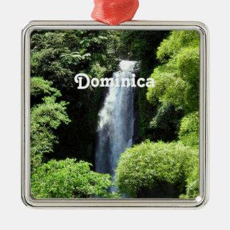 Dominica Silver-Colored Square Ornament