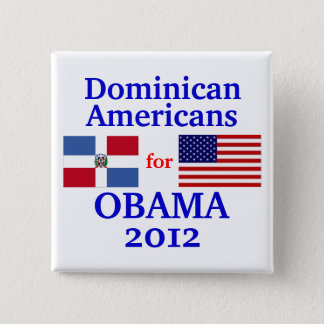 Dominican Americans for Obama 2 Inch Square Button
