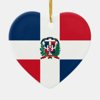 Dominican flag all over design ceramic heart ornament