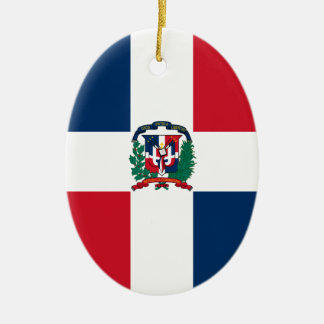 Dominican flag all over design ceramic oval ornament