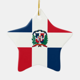 Dominican flag all over design ceramic star ornament
