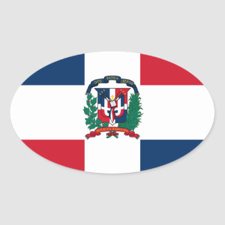 Dominican flag all over design oval sticker