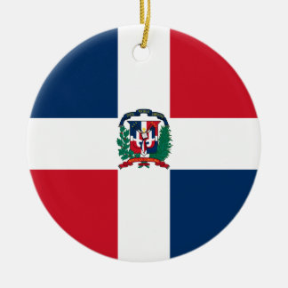 Dominican flag all over design round ceramic ornament