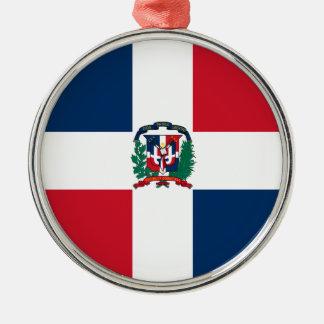 Dominican flag all over design Silver-Colored round ornament