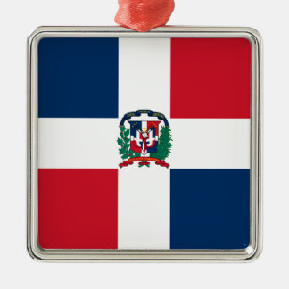 Dominican flag all over design Silver-Colored square ornament