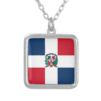 Dominican flag all over design silver plated necklace