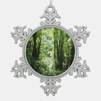 Dominican Rain Forest II Tropical Green Snowflake Pewter Christmas Ornament