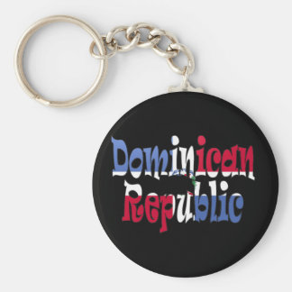 Dominican Republic Basic Round Button Keychain