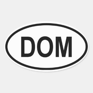 """Dominican Republic """"DOM"""" Oval Sticker"""