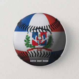 Dominican Republic Flag Covered Baseball 2 Inch Round Button